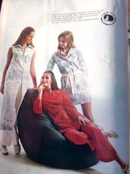 En sextiotalsannons med mammas kläder. Plaggen såldes enbart i mammas butik och tillverkades på ön.