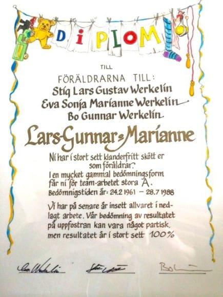 Diplom till mamma och pappa
